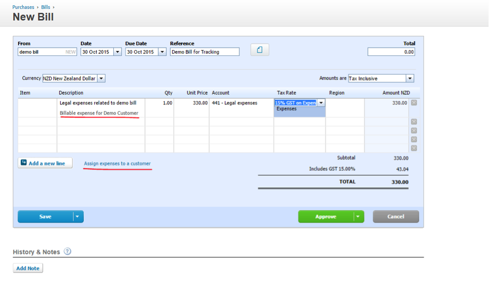 Xero assign expenses to customer