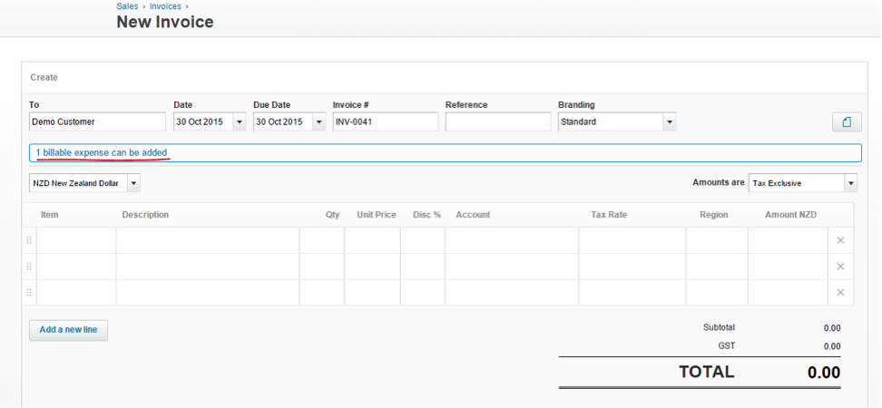 Xero one billable expense can be added